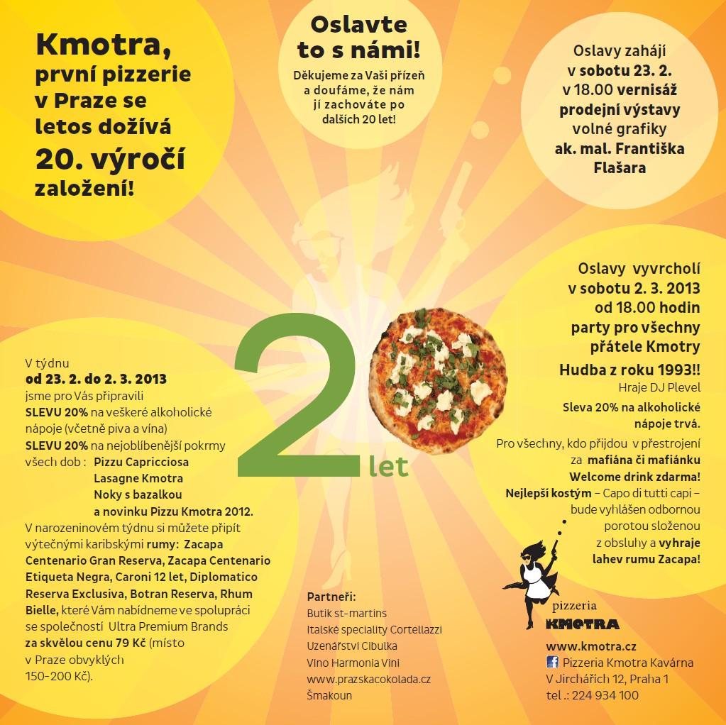 pozvánka na 20 narozeniny Kmotra   Kmotra   Akce v Kmotře   Pizzerie Praha, salonek, pizza  pozvánka na 20 narozeniny